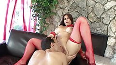 Hot MILF in red gets a huge pole shoved in her pussy