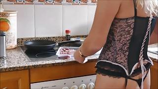 British hotwife pornstar Natalie K steak & blowjob day