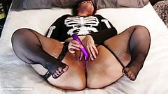 MILF Wasted at Halloween Party Finds Vibrator in Guest Room