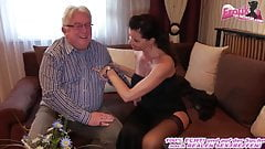 German milf with big tits fucks grandpa at escort date
