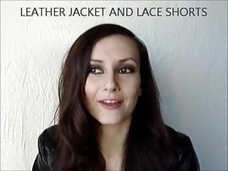 Womens vintage leather jacket - Lace shorts and leather jacket