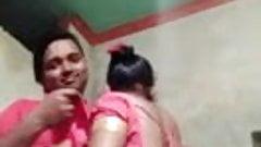 Desi indian girl, boobs sucking by boyfriend