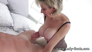 Hot MILF Sonia's husband lets her suck cock with a stanger