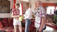 Young blonde babe is used by mature couple