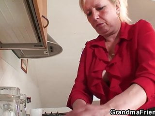 Hot busty grandma fucking Two repairmen fuck busty grandma from both ends