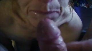 Sucks and cum on face