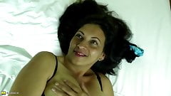 Lovely mature Latin mother with hungry holes