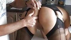British Slut Bee in Black FF Stockings