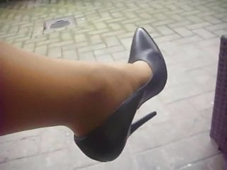 Sexy black leather high heel shoes Black extrem leather high heels pumps