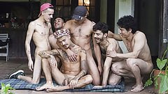 LatinLeche - Five Latino Studs Fuck At A Birthday Party