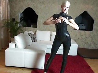 White latex womens catsuit - Posh milf fucked in shiny black latex catsuit cum on pussy