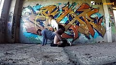 Painting graffiti, fucking a guy and getting cum on my chest