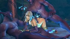 Jaina threesome with Night Elves