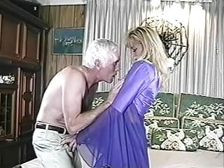 He tastes his cum - Old man and woman he licks his cum off her ass