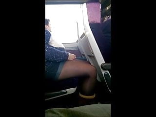 Stockings or pantyhose which is sexier Candid shorts and tights or pantyhose on the train