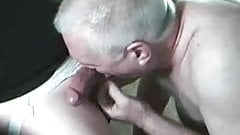 handsome gray haired daddy sucking big cock 1