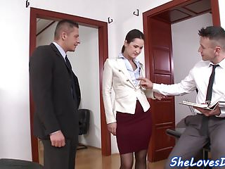 Office beauties thumbs Beautiful eurobabe dp banged in the office