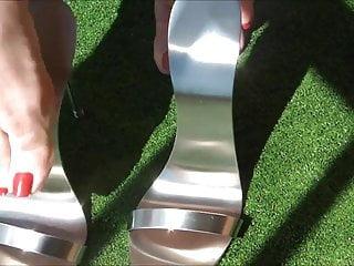 Sexy girls in metal thongs Sexy feet in metal heels 1