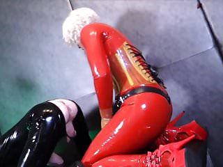 Rubber femdom Rubber female domination strapon