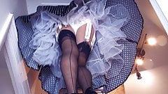 12 Strap Garter Belt Black Stockings Upskirt