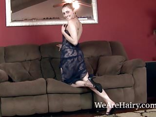 Redhead hypno and stripped - Rococo royalle strips and masturbates on her couch