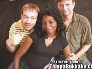 Ebony interracial bukkake cum - Ebony freak mama deneas tampa bukkake group sex tryout