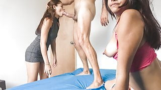 2 College Teen Latinas in Amateur Threesome