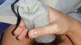 Young penis cumming in sock