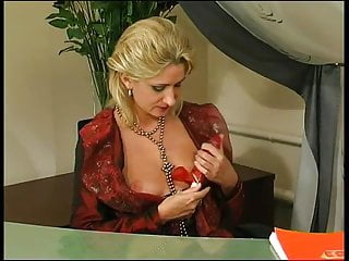 Secretary stockings sex Secretary in sexy stockings uses dildo and a man