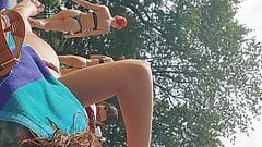 Two thong candid bikini at the pool