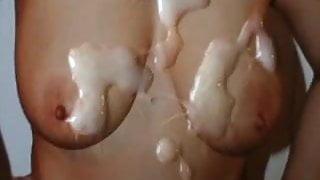 Cum Tribute on 73Firebird's 36DD Tits