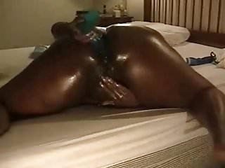 Black bbw butthole Gorgeous ebony bbw wife pokes her butthole with huge dildo