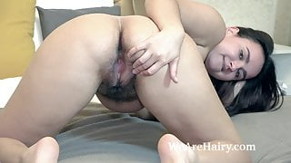 Ramira strips naked as she has a banana in bed