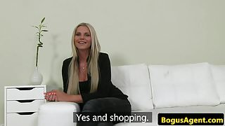 Blonde amateur rubs her pussy before fucking