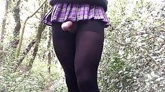 Outdoor black hose schoolgirl in the woods.