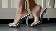Feet 052 - GF Showing Off Bare Soles and Toes In Clear Heels