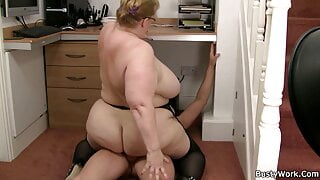 Huge boobs lady boss with glasses rides dick