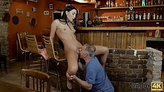 DADDY4K. Raven-haired miss with outstanding shapes loves old