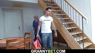 70 years old blonde grandma pleases young stud