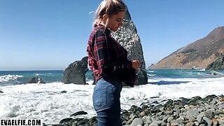 Russian teen girl swallows cum on Californian public beach