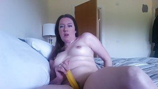 Fuck session with banana - slutty wife in action!
