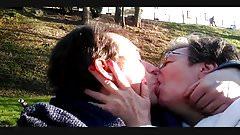 Me and my aunt Margaret.Hot kiss in the woods