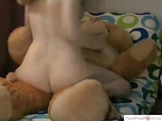 Bear sex toy Girl rides toy bear part 2