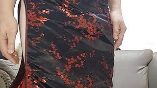 Cum With Black Satin Cheongsam Qipao Chinese Dress