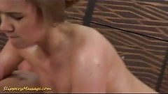Slippery massage babe sucking and fucking a big cock