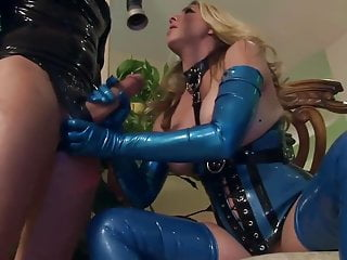 Heel and stocking fucked Fucking in shiny latex lingerie and high heels