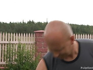 Clothing sexy tight Two hot clothed babes get screwed by lucky gardener