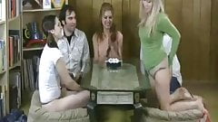 Two guys and three girls playing strip games