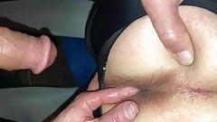 Wife fingers husband ass with cum