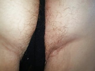Pulled open hairy pussy Pull down her black pantys reveal hairy pussy,asshole